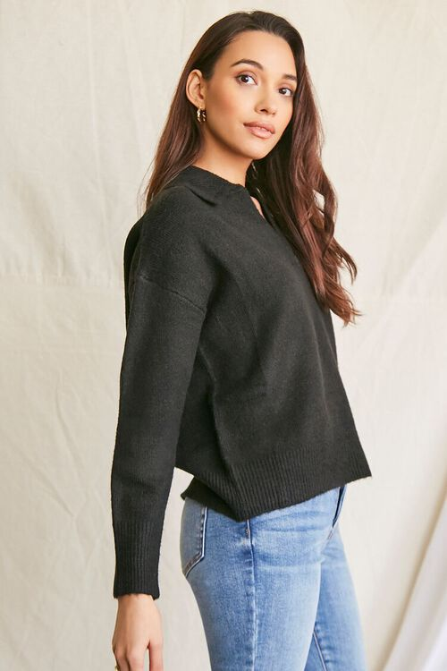BLACK Brushed Split-Neck Sweater, image 2