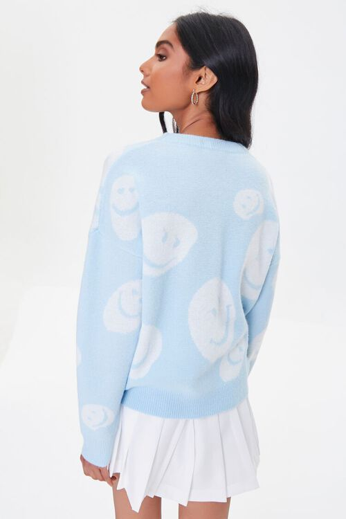 LIGHT BLUE/CREAM Happy Face Graphic Sweater, image 3
