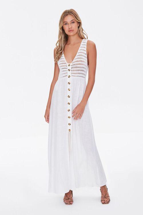 WHITE Gauze & Open-Knit Combo Dress, image 1