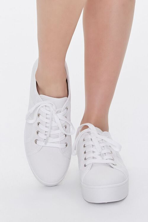 WHITE Lace-Up Low-Top Sneakers, image 4