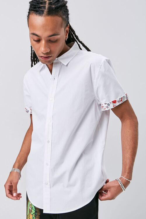 Floral-Trim Fitted Shirt, image 1