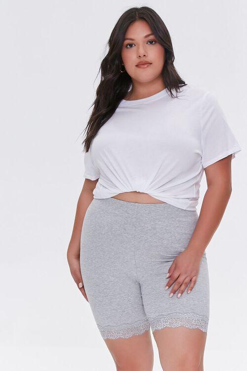 HEATHER GREY Plus Size Lace-Trim Biker Shorts, image 1