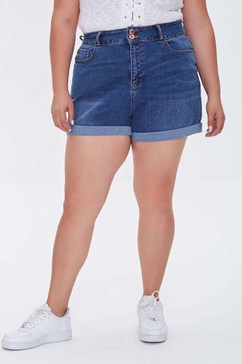 Plus Size Cuffed Denim Shorts, image 2