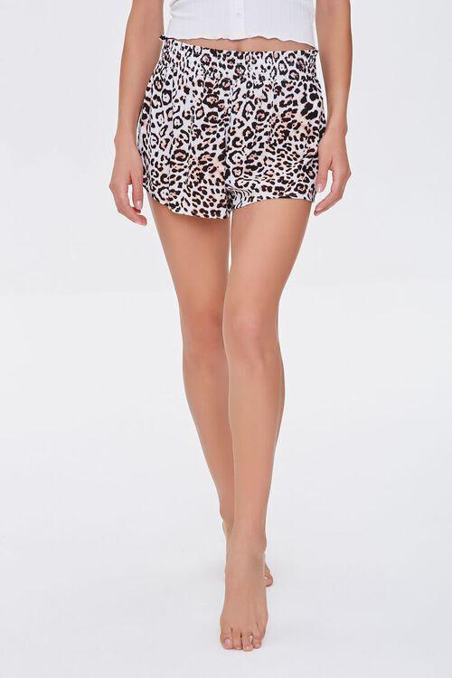 TAN/BLACK Leopard Swim Cover-Up Shorts, image 2