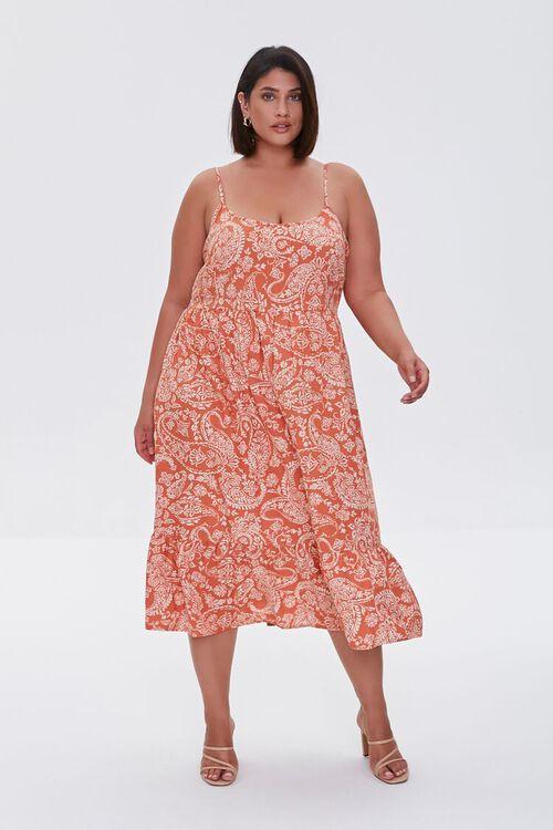 ROSE/MULTI Plus Size Ornate Print Cami Dress, image 4