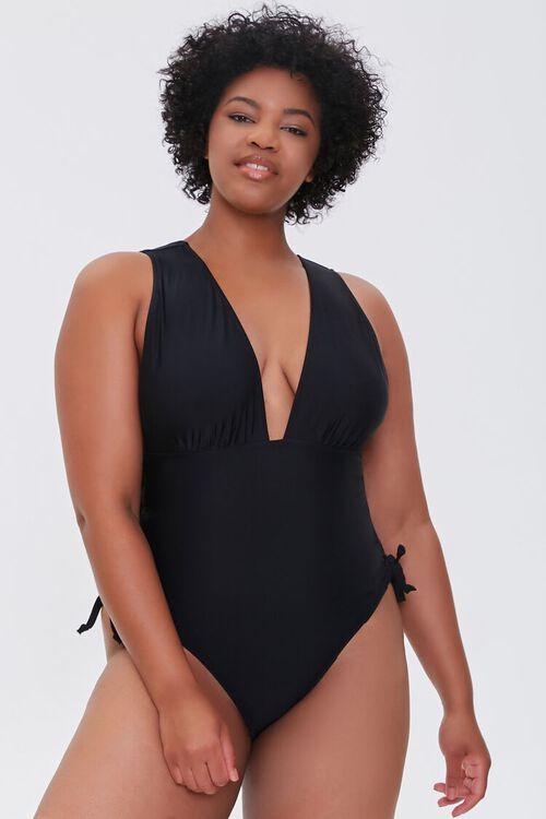 Plus Size Lace-Up One-Piece Swimsuit, image 1