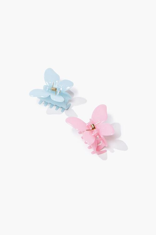 PINK/BLUE Butterfly Claw Hair Clip Set, image 1