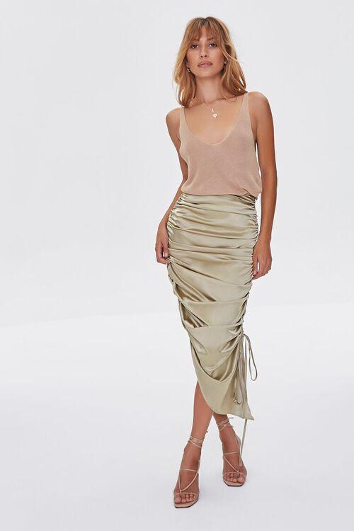 Satin Ruched Drawstring Skirt, image 1