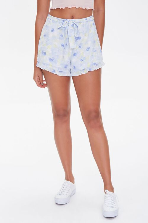 Floral Print Ruffle-Trim Shorts, image 2