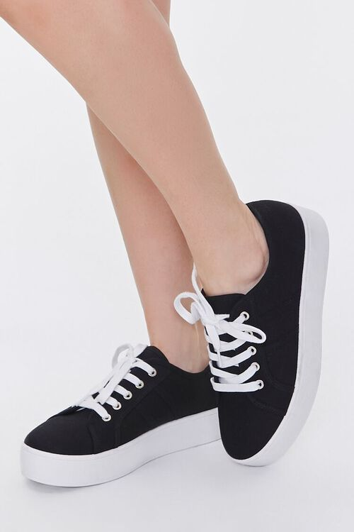 BLACK Lace-Up Low-Top Sneakers, image 1