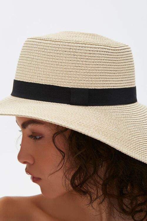 NATURAL/BLACK Faux Straw Floppy Hat, image 3