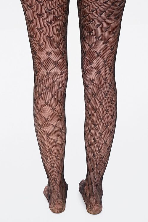 Heart Print Fishnet Tights, image 3