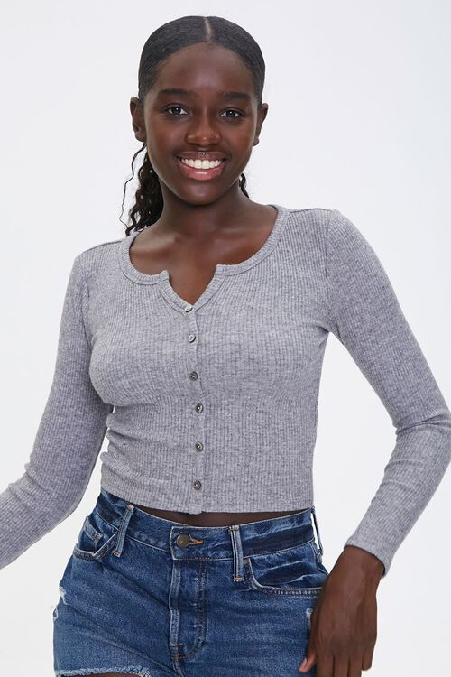 Ribbed Button-Front Top, image 1