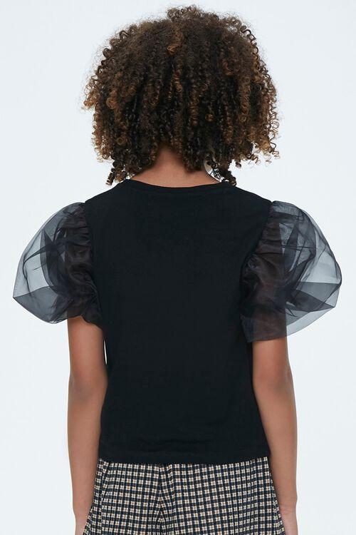 Girls Sheer Puff-Sleeve Top (Kids), image 3