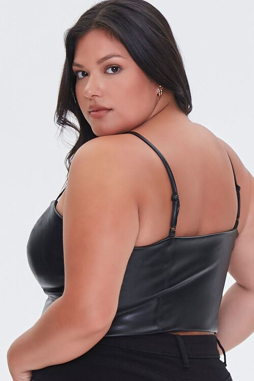 BLACK Plus Size Faux Leather Cropped Cami, image 3