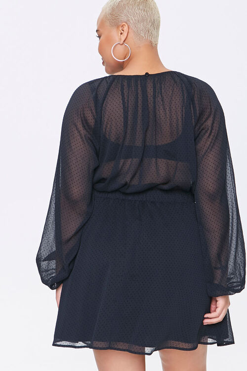 Plus Size Sheer Dotted Mini Dress, image 3