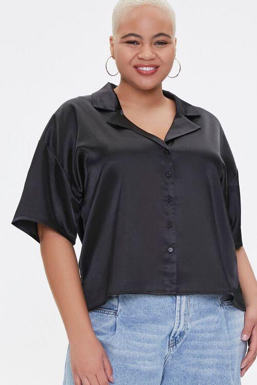 Plus Size Cropped Satin Shirt, image 1