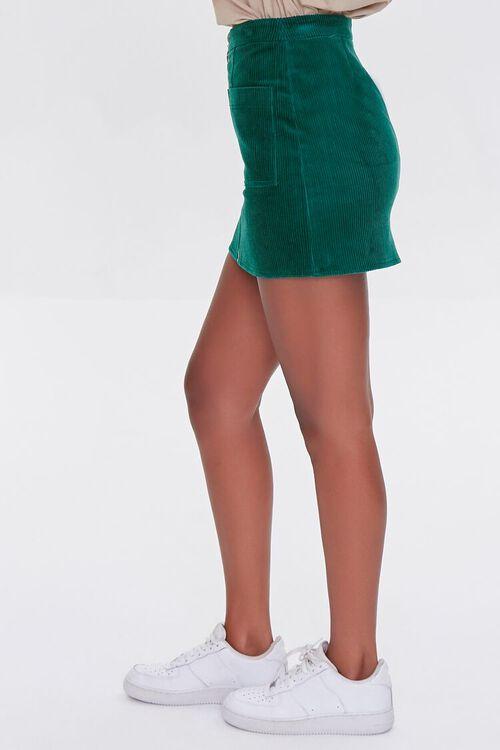 HUNTER GREEN Corduroy Zip-Front Mini Skirt, image 3