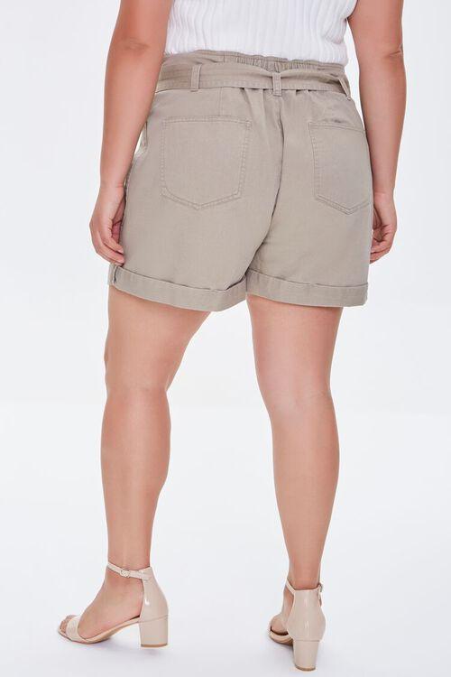 Plus Size Cuffed Tie-Belt Shorts, image 4