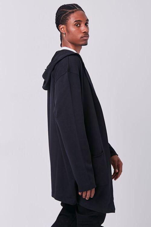 BLACK Longline Hooded Cardigan Sweater, image 2