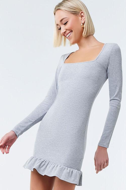HEATHER GREY Ruffled Bodycon Mini Dress, image 1