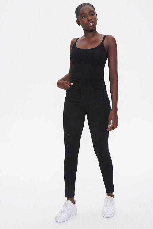 BLACK Basic Cotton-Blend Cami, image 4