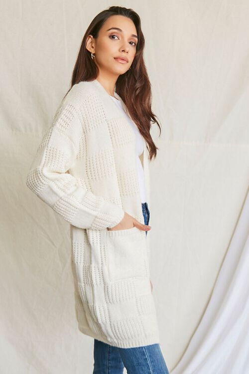 IVORY Checkered Purl Knit Cardigan Sweater, image 2