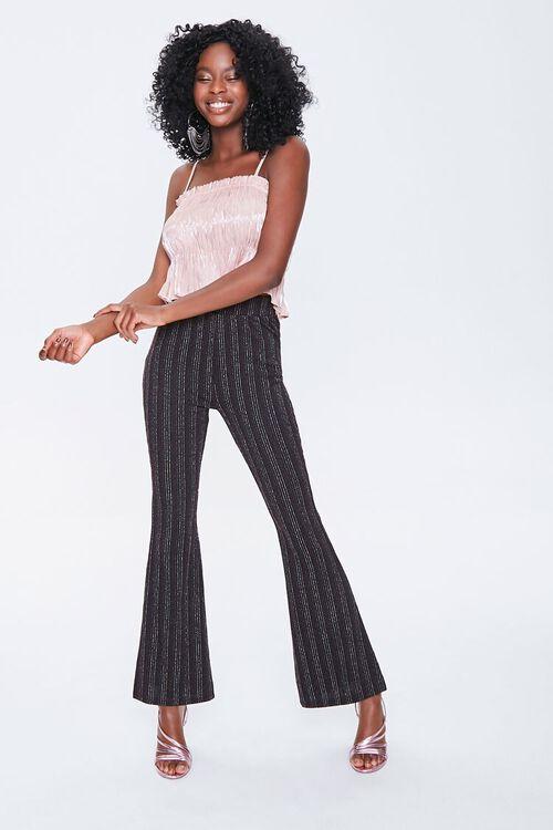 Metallic Pinstriped Flare Pants, image 4