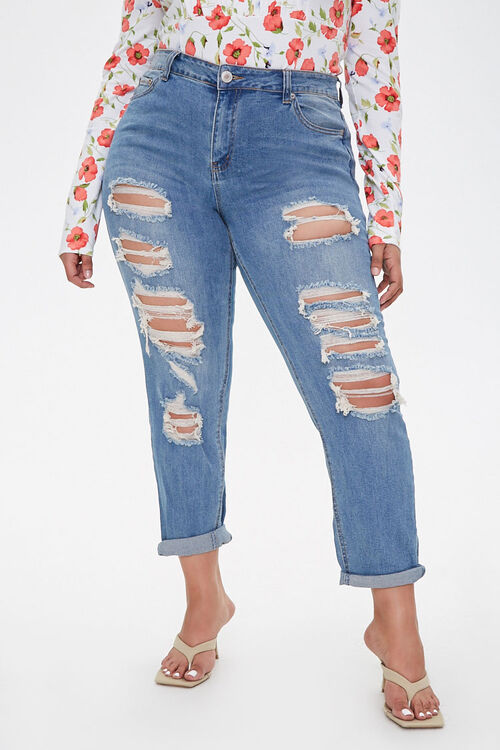 Plus Size Distressed Jeans, image 2