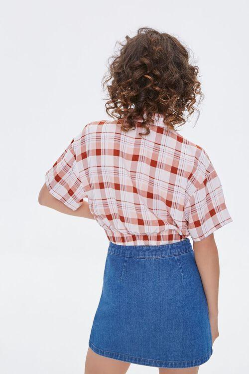 WHITE/RUST Elasticized-Hem Plaid Shirt, image 3