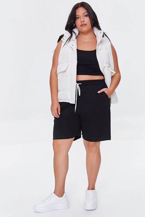 BLACK Plus Size Boyfriend Sweatshorts, image 5