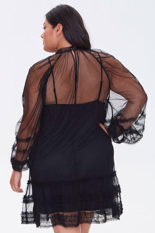 Plus Size Ruffled Mesh Mini Dress, image 3