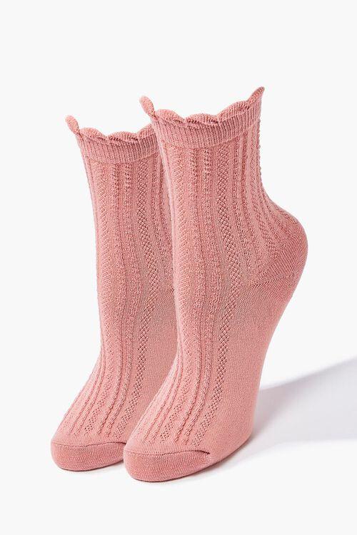 PINK Scalloped Crew Socks, image 1