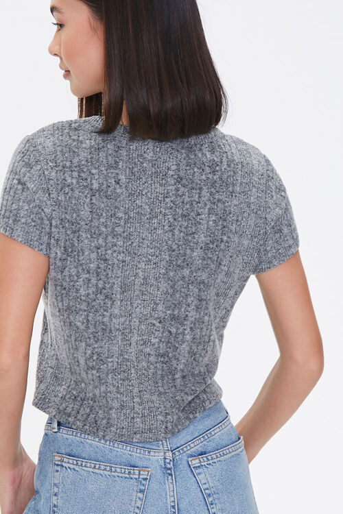 CHARCOAL HEATHER Ribbed Form-Fitting Tee, image 3