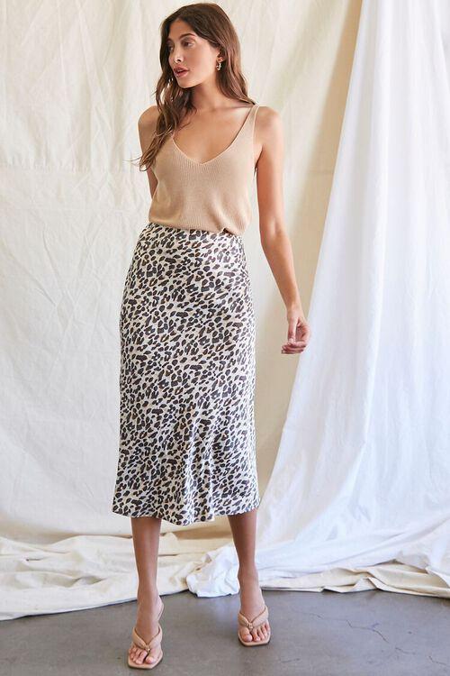 TAN/BLACK Leopard Print Midi Skirt, image 5
