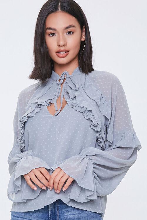 Chiffon Clip Dot Cutout Shirt, image 5