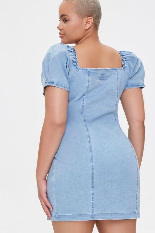 Plus Size Chambray Puff-Sleeve Dress, image 3