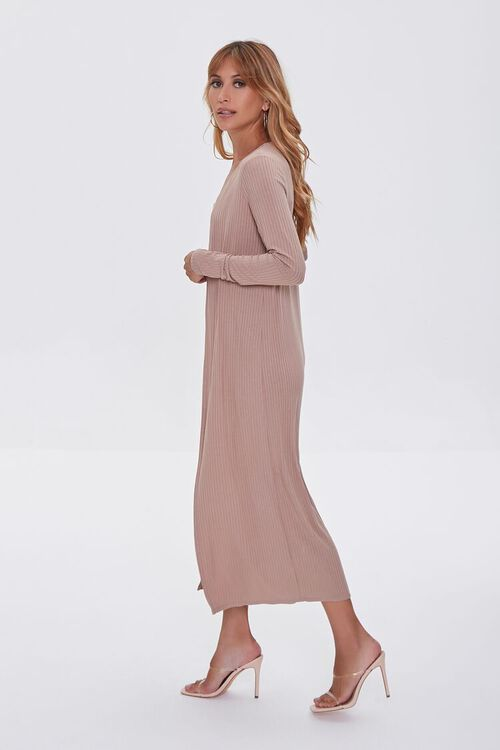 TAUPE Ribbed Knit Romper & Duster Cardigan Set, image 2