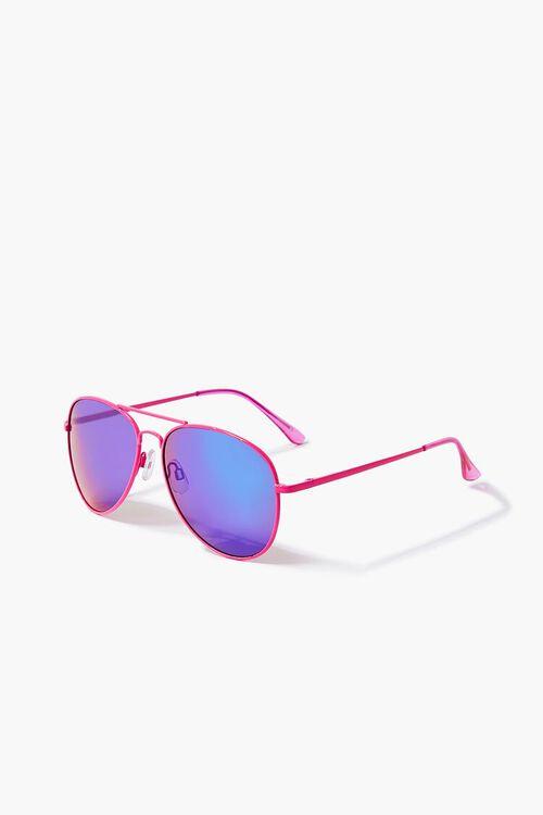 NEON PINK/MULTI Aviator Metal Sunglasses, image 2