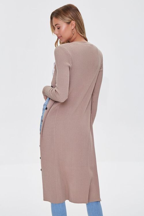 Ribbed Longline Cardigan Sweater, image 3