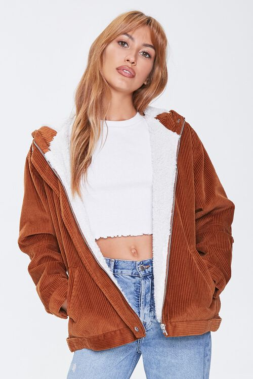 Corduroy Faux Shearling Hooded Jacket, image 1