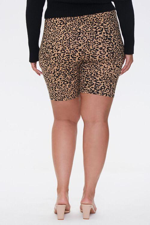 TAUPE/BLACK Plus Size Leopard Biker Shorts, image 4