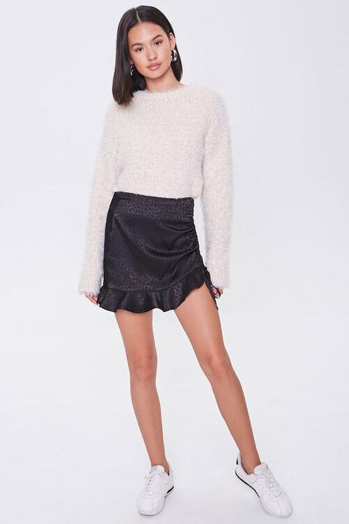 BLACK Satin Cheetah Print Mini Skirt, image 5