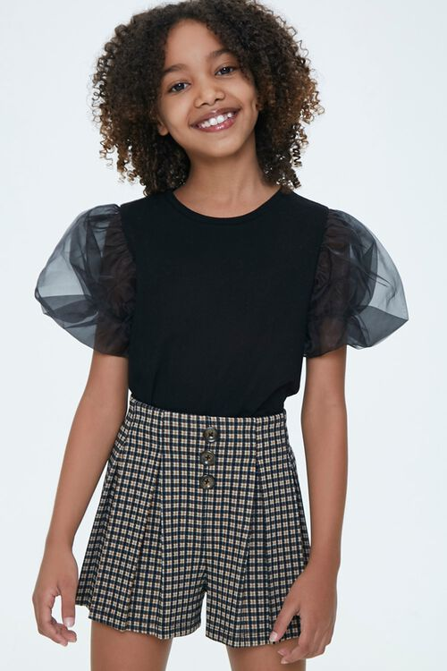 Girls Sheer Puff-Sleeve Top (Kids), image 1