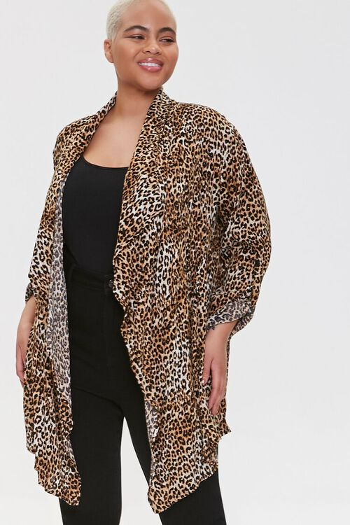 Plus Size Leopard Print Kimono, image 1