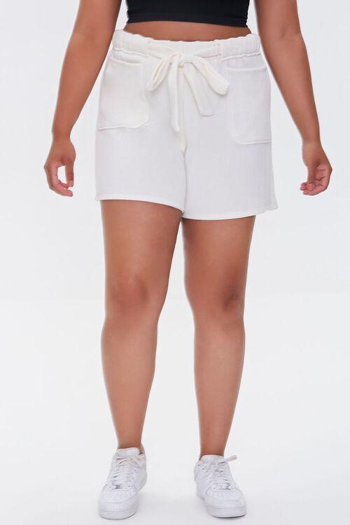 CREAM Plus Size Fleece Tie-Waist Shorts, image 2