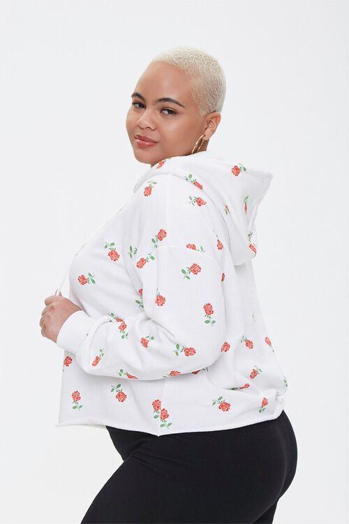 Plus Size Rose Print Hoodie, image 2