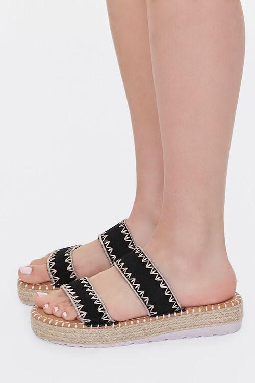 BLACK Threaded Espadrille Flatform Sandals, image 2