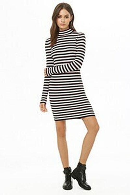 Striped Mock Neck Dress, image 1