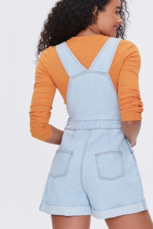 Cuffed Denim Overall Shorts, image 3
